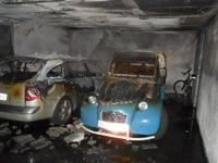 Incendio en garaje